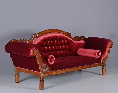Antique Sofa sofa gigantic Salon sofa red Velvet Mahogany wood Couch