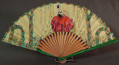 Vintage Red Star Line Advertising Art Deco Flapper Girl Print Paper Folding Fan