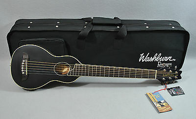 Washburn RO10B Rover Steel-String Travel Acoustic Guitar Package w/Case - BLACK
