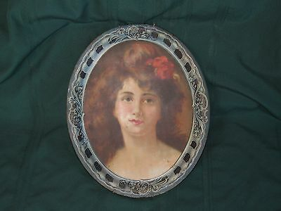 Antique Beach Co Coshocton Polychrome Lithograph Tin Tray, No 3 Portrait of Lady