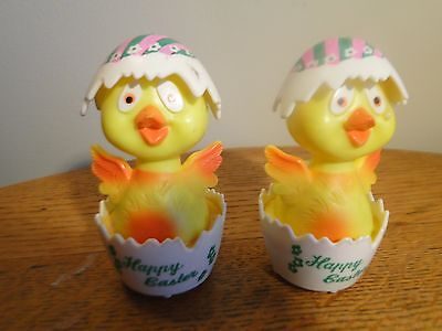 2 Vintage Plastic Happy Easter Baby Chick in Egg Rolling Toy
