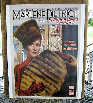 Antique Movie Poster Marlene Dietrich L'Imperatrice Rouge