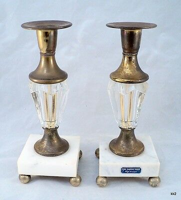 2 Vtg MidCentury Hollywood Regency Brass Crystal Marble Candle Sticks -Estate