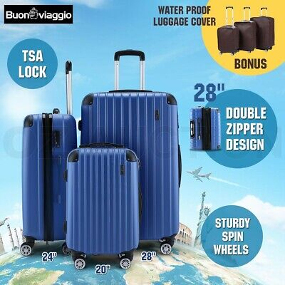 3pc Luggage Suitcase Trolley Set TSA Carry On Bag Hard Case Lightweight-Blue