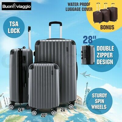 3pc Luggage Suitcase Trolley Set TSA Carry On Bag Hard Case Lightweight-Grey