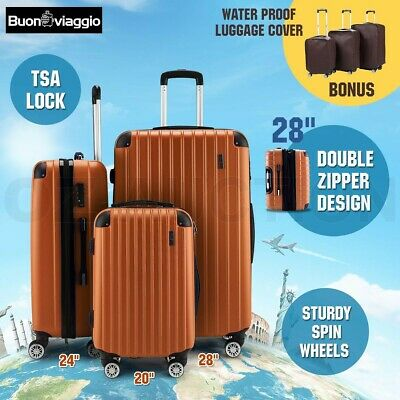 3pc Luggage Suitcase Trolley Set TSA Lock Carry On Bag Lightweight-Orange