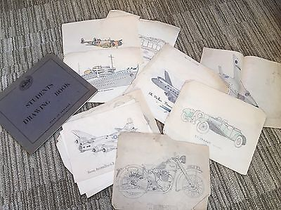 Superb Old Scrapbook Of Drawings Cars/Motorbikes/Planes/Trains c.1940s/50s