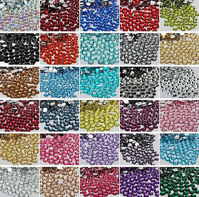 1000Pcs Crystal Faceted Flat Back Resin Rhinestone Gems Nail Art Accessorie 2mm