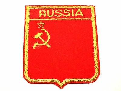 Vintage USSR Russia Flag Shield Velveteen/Cheesecloth Patch