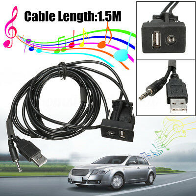 3.5mm AUX Extension Cable Lead Car Boat Dash Flush Mount USB Port Mounting Panel