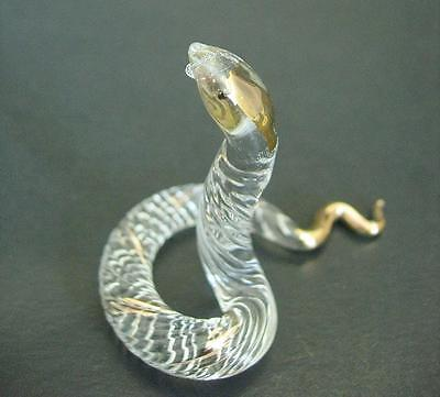 Glass SNAKE, Patterned Glass Animal, Reptile, Clear & Gold Glass Ornament Gift
