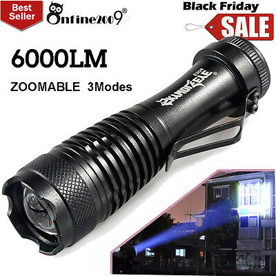 6000LM CREE Q5 LED 3Mode AA/14500 ZOOMABLE Flashlight Torch Lamp Super Bright UK