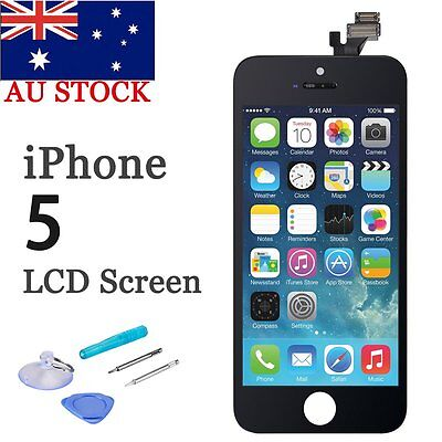 For iPhone 5 Replacement LCD Digitizer Front Screen Assembly Panel +Tools Black