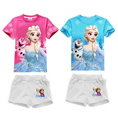 Frozen Toddler Kids Girls Clothes Elsa Tops T-shirt +Shorts Outfits Set 1-6Y