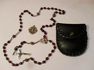 Vintage Catholic Glass Bead Rosary & Pope Pius XXII 1950 Medal with Pouch