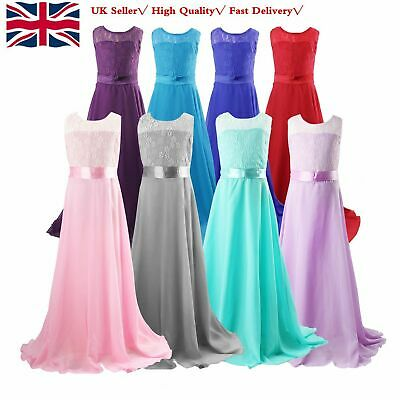Girls Flower Lace Bridesmaid Party Princess Prom Wedding Dress 6-13Y UK
