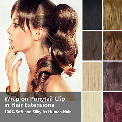 Natural Curly/Wavy Clip In Pony Tail Hair Extension Wrap Around Ponytail Party