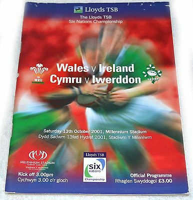 Rugby Union Programme - Wales Vs Ireland Oct 2001 David Young Brian O ' Driscoll