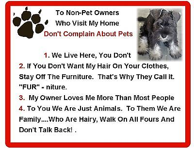 Funny Dog Minature Schnauzer House Rules Refrigerator / Magnet Gift Card Insert