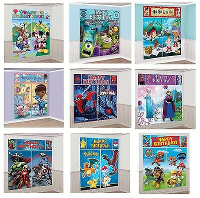 Kids Characters 5 x SCENE SETTERS Birthday Party Wall Banner Decorations