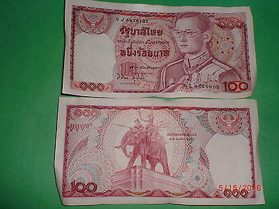 - Thailand  Paper Money - Old Currency Note - Baht 100/- #1978 King - Rare