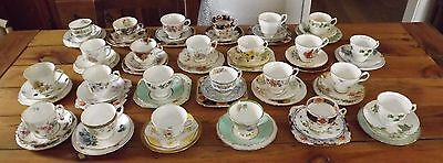 24 x Vintage English China Mismatched Cups Saucers Plates Weddings, Parties Cafe