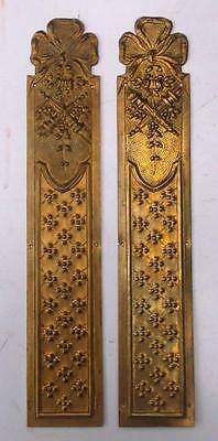 Pair Vintage French Brass Empire Door Finger Plates #1