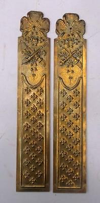 Pair Vintage French Brass Empire Door Finger Plates #2