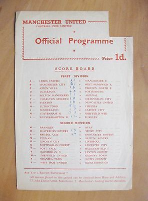 MANCHESTER UNITED v DERBY COUNTY Reserves 1956/1957 *VG Cond Football Programme