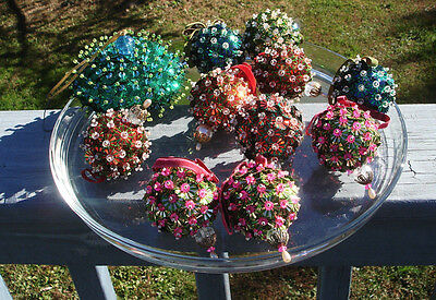 11 Beaded Sequin Jeweled Christmas Ornaments