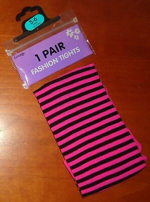 1 PAIR GIRL'S PINK STRIPED FASHION TIGHTS 5-6 Years