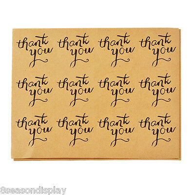 50Sheets thank you Round Adhesive Stickers Kraft DIY Paper Tags 15.5x12.4cm