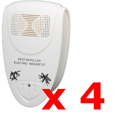 4 x ELECTRONIC UK PLUG-IN ULTRASONIC RODENT PEST FLY REPELLER MICE RAT REPELLENT