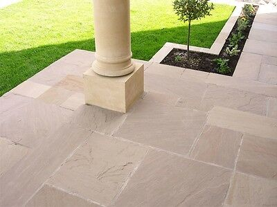 Autumn Green Indian Sandstone Paving - Natural Stone Patio Flags - Garden Slabs