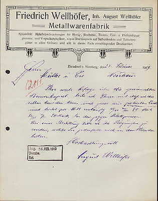 ZIRNDORF, Brief / Autograph 1919, Metallwaren-Fabrik Friedrich Wellhöfer