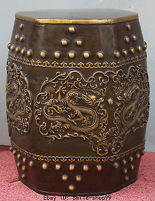 "17"" Chinese Pure Bronze Zodiac Year Animal Dragon Play Bead High Chair Stool"