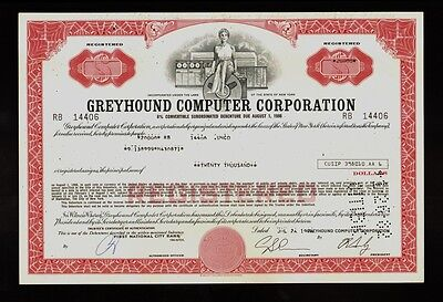 Greyhound Computer Corporation ( lateron Dial / Viad Corporation ) old bond