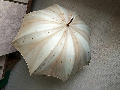 Vintage Green Silk? Parasol,cane Handle, Brass Fittings, Faded Canopy, Rare