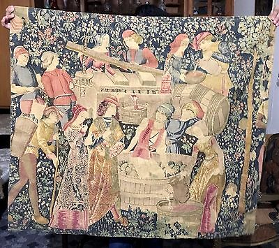 A Decorative Medieval Style French Print Tapestry Wine Making Scan