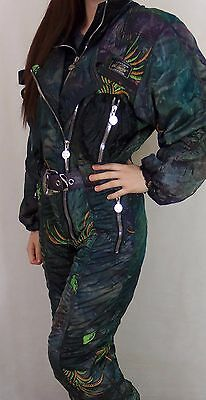 Vintage Womens All In One Neon Ski Suit XS-S Made In Italy High Society Engel