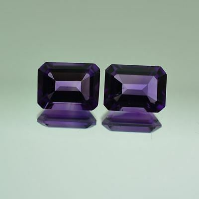 A PAIR OF 5x3mm OCTAGON-FACET NATURAL AFRICAN AMETHYST GEMSTONES