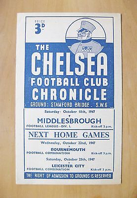 CHELSEA v MIDDLESBROUGH 1947/1948 *Excellent Condition Football Programme*