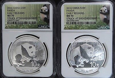 2016 China Silver Panda 10Y Shenzhen & Shanghai Mint Set NGC MS70 Early Releases