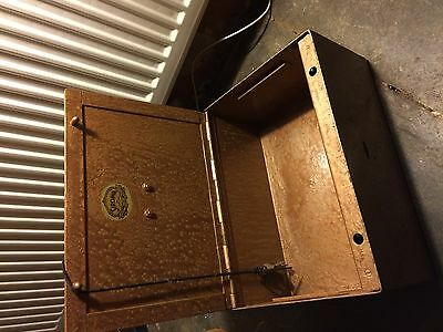 Vintage ' Siroma' Strong Box,cash Box, Safe,  In Steel With Original Key, Heavy.