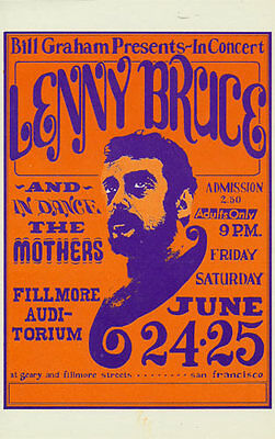 Lenny Bruce POSTCARD The Mothers Fillmore BG13 Wes Wilson