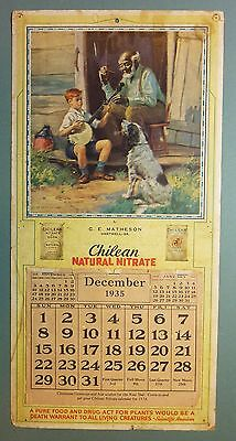 1935 CHILEAN NATURAL NITRATE Calendar - Uncle Natchel & Sonny HY HINTERMEISTER