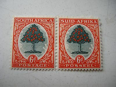 South Africa a pair of 6d stamps KGV 1926-7 MM