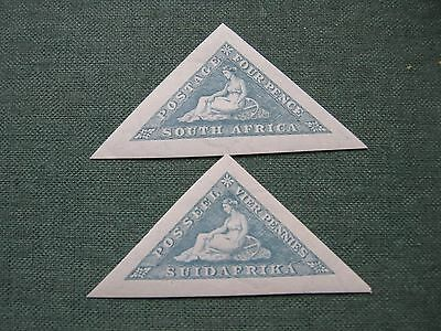 South Africa a pair of 4d blue triangles stamps, 1925 mounted mint
