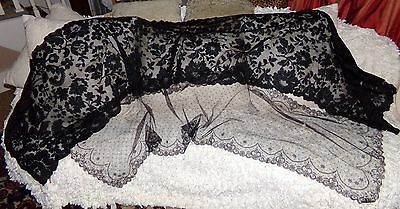 Antique Silk Shawl / Blonde Lace in Black & One Chantilly Lace Veil 2 PIECE LOT