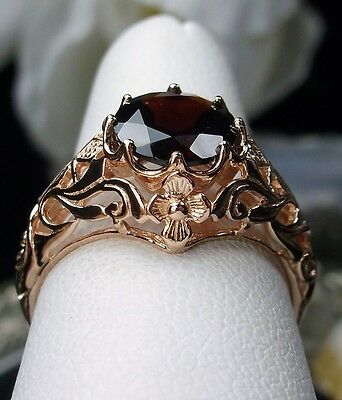 1.6ct Natural Red Garnet Sterling Silver & Rose Gold Filigree Ring Size Any/MTO